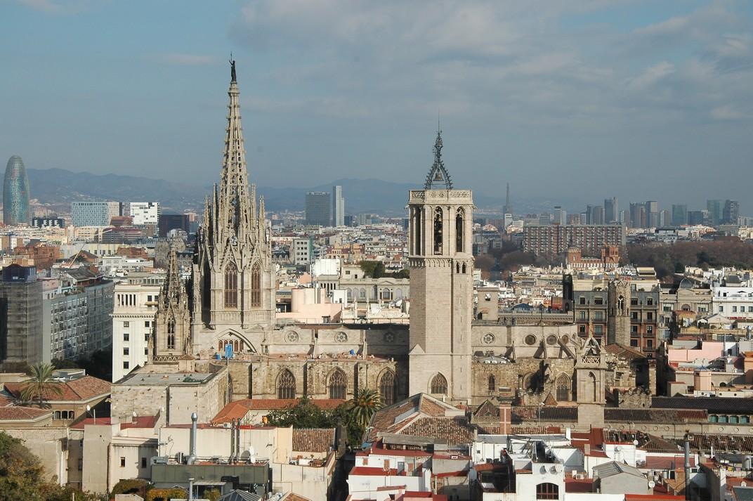 Catedral de Barcelona des del campanar de Santa Maria del Pi