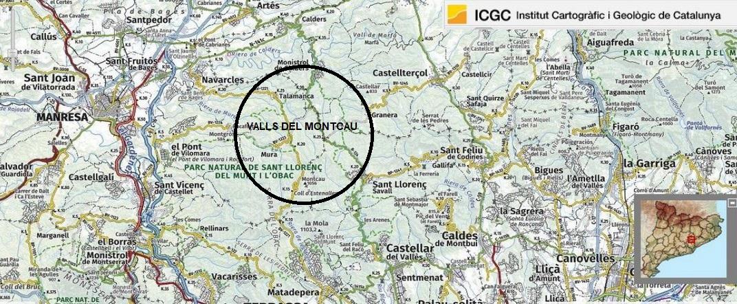 Mapa de localització de les Valls del Montcau