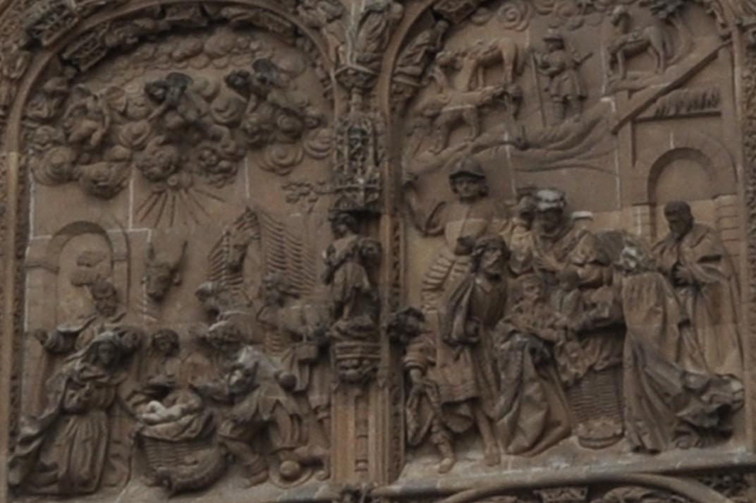 Adoració dels pastors i dels reis Mags de la Porta del Naixement de la Catedral Nova de Salamanca