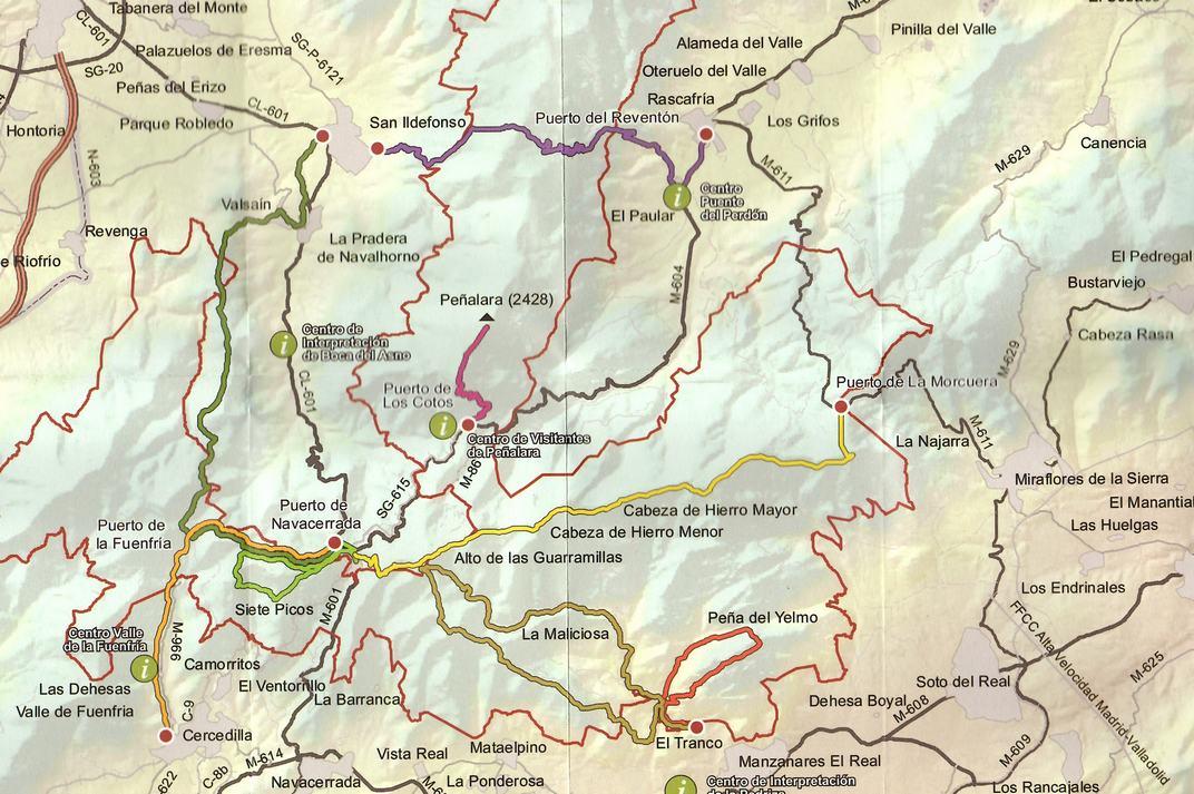 Plànol de la Sierra de Guadarrama de les Comunitats de Madrid i Castella i Lleó