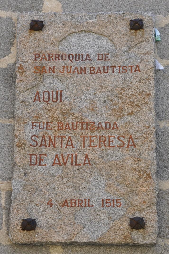 Recordatori del bateig de Santa Teresa d'Àvila