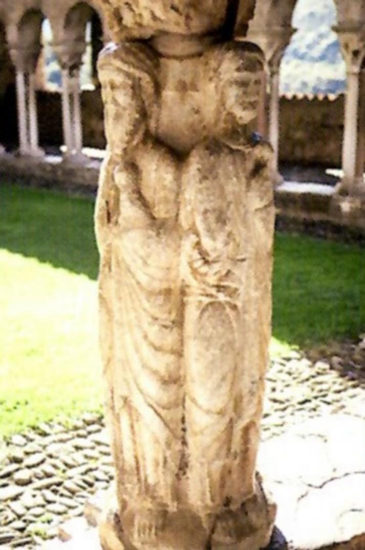 Pilar dels evangelistes del claustre de la Catedral de Santa Maria de Saint-Bertrand-de-Comminges