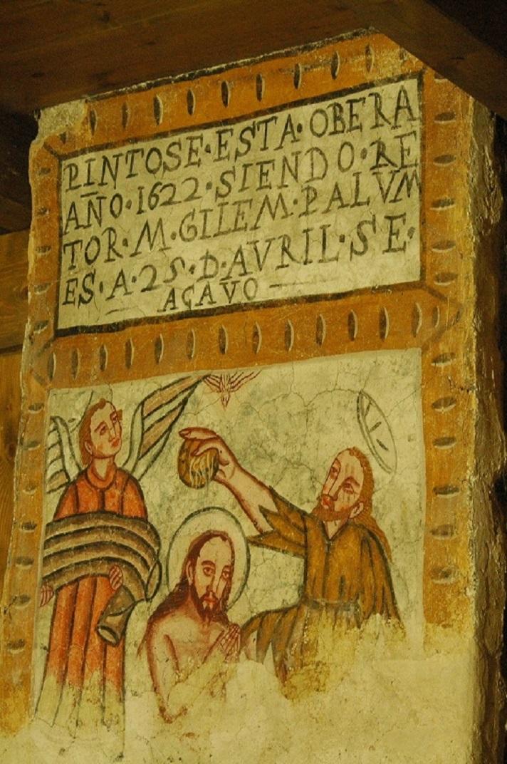 Pintura mural del baptisme de Jesús de l'església de Santa Maria de Cap d'Aran de Tredòs