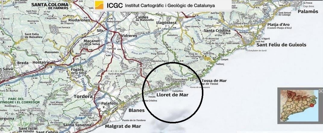 Mapa de localització de Lloret de Mar