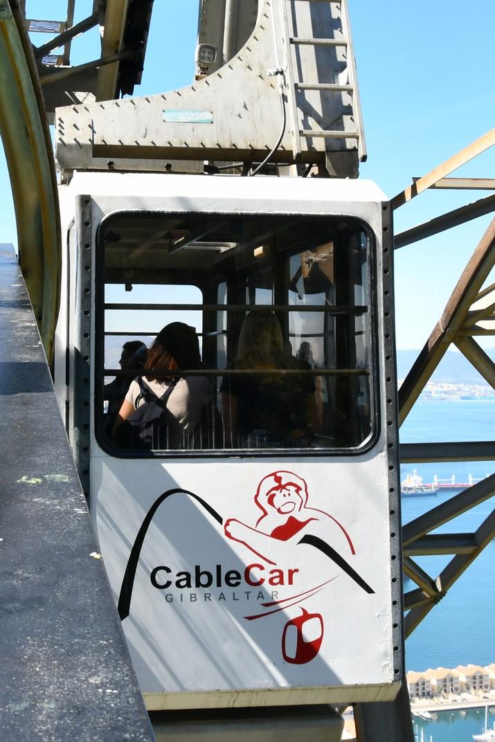 Cabina a l'estació intermèdia del Cable Car de Gibraltar