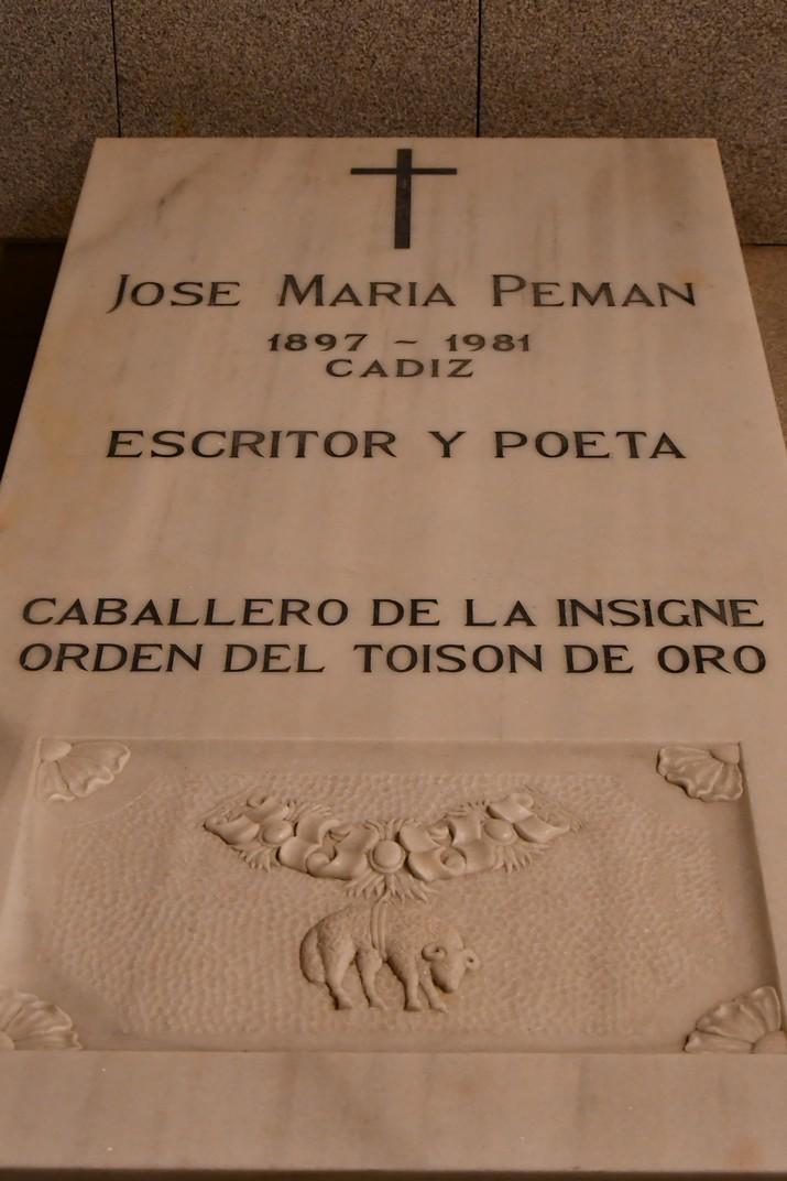 Sepulcre de José María Peman de la Cripta de la Catedral de la Santa Creu de Cadis
