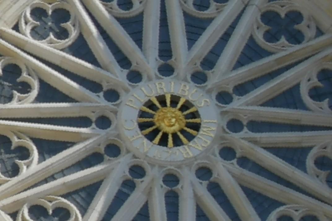 Cara, lema i data del rei Lluís XIV del transsepte de la Catedral d'Orleans