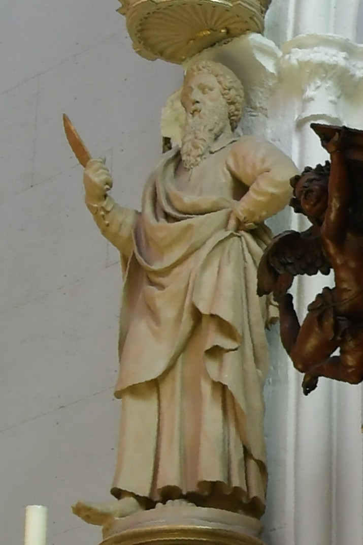Escultura de Sant Bartomeu a l'església de Nostra Senyora de Bruges
