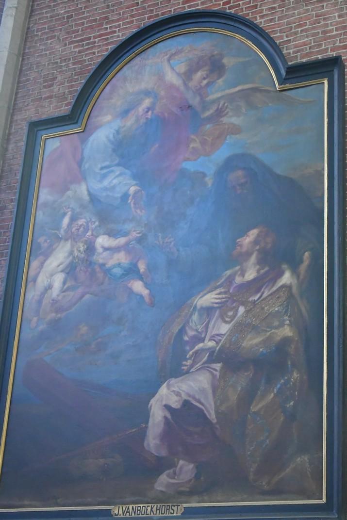 Penediment de David de l'església de Sant Miquel de Gant