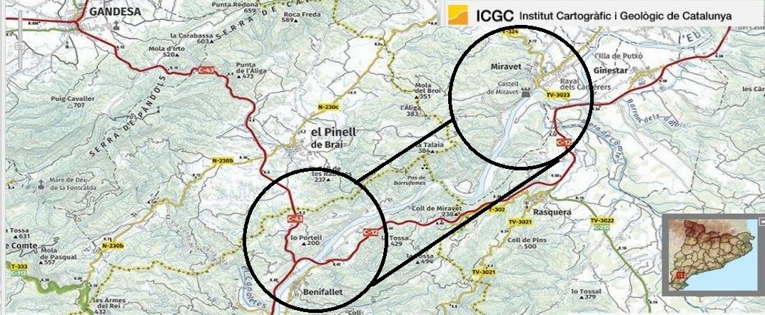 Mapa de localització del tram entre Miravet i Benifallet per l'Ebre