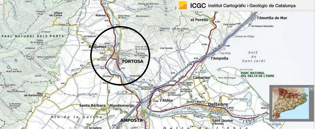 Mapa de localització de Tortosa