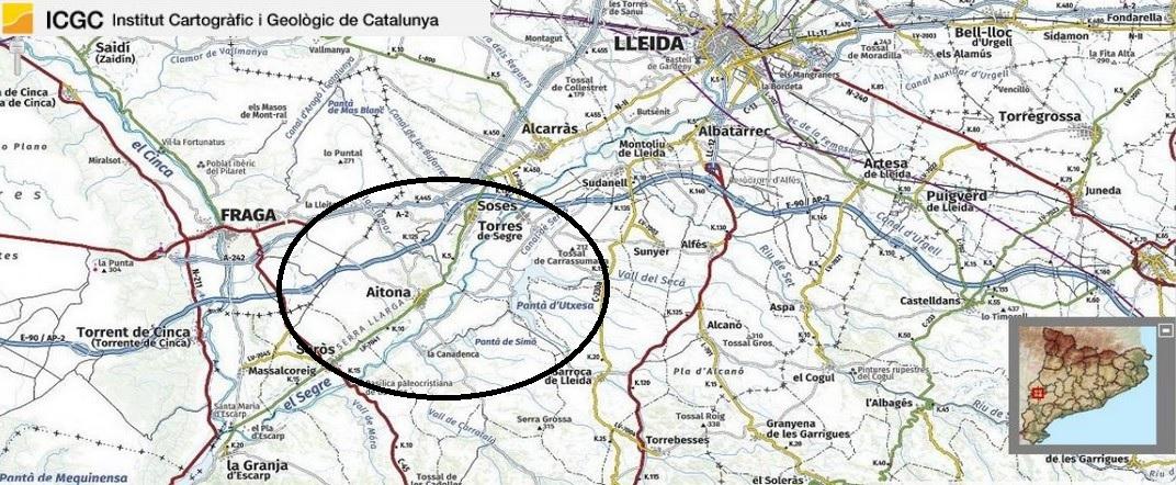 Mapa de localització d'Aitona