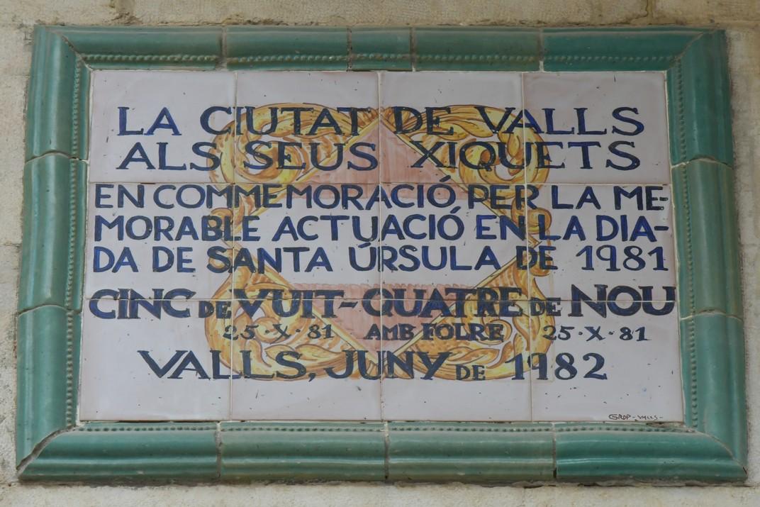 Placa commemorativa dels castells de Valls