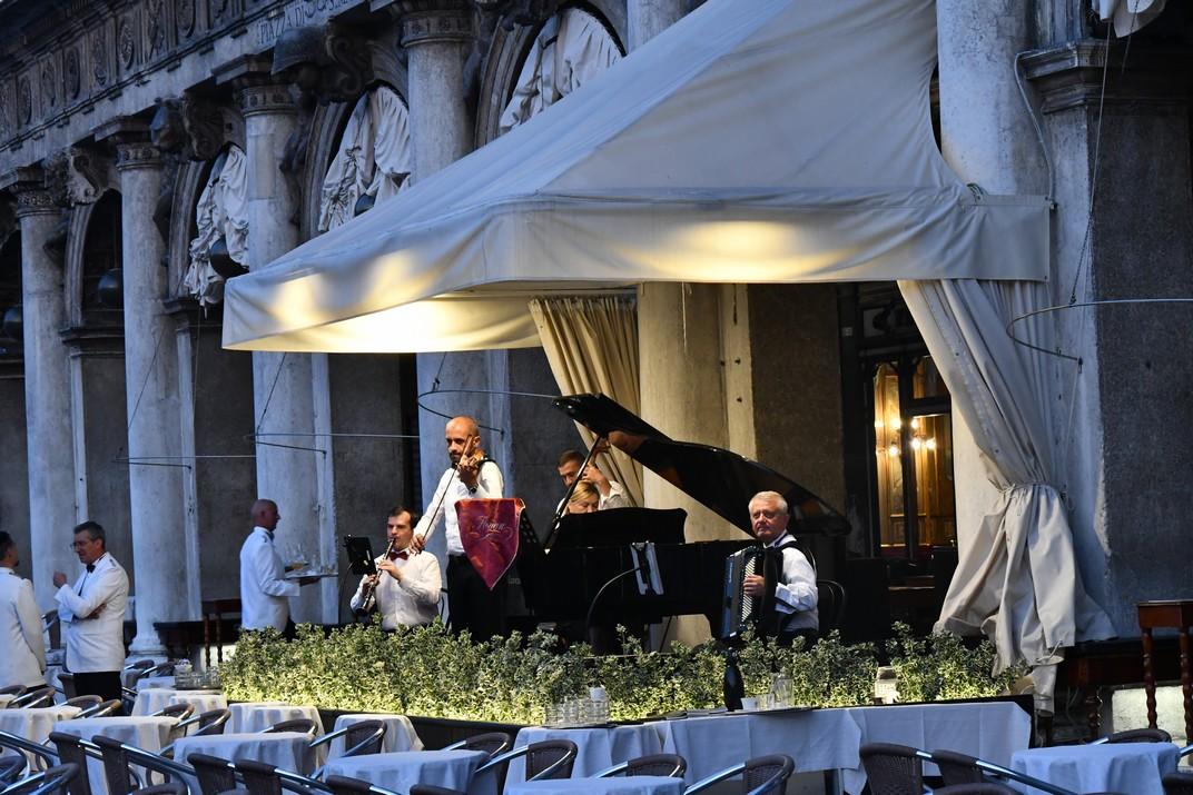 Músics del Cafè Florian de la plaça de San Marco de Venècia