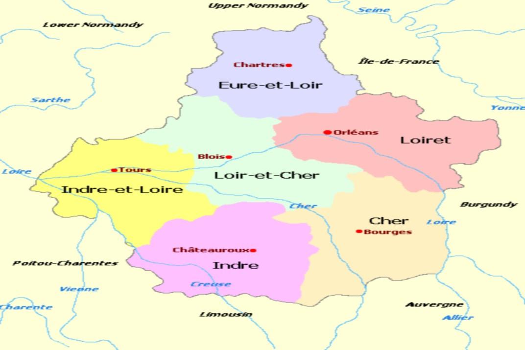 Mapa del Centre-Vall del Loira - Ruta per França i Bèlgica