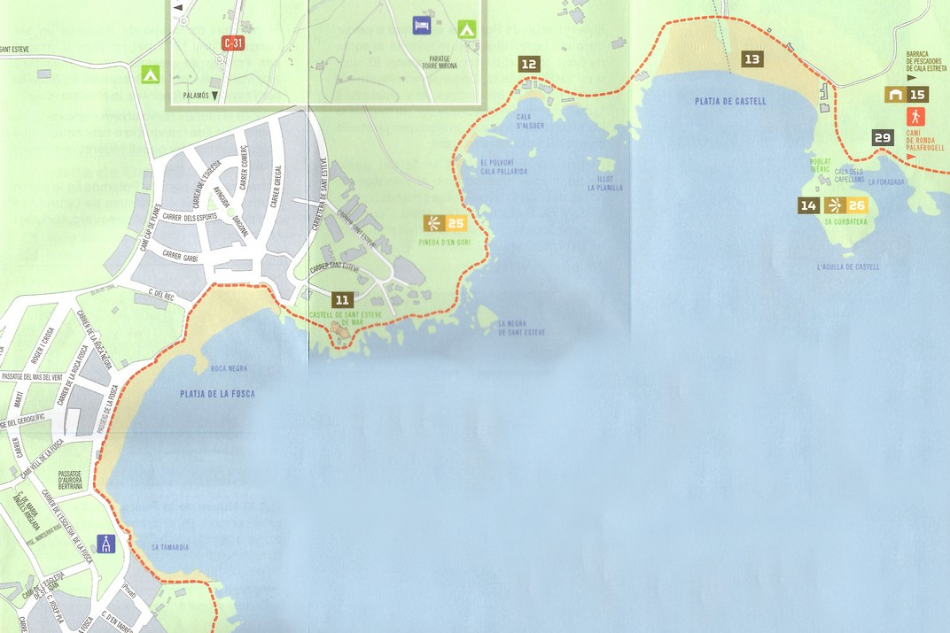 Mapa del camí de ronda de Palamós