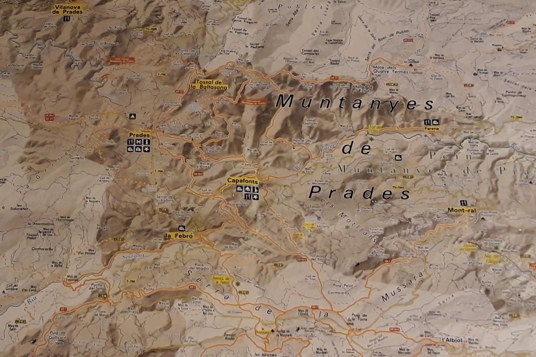 Mapa de localització de les Muntanyes de Prades