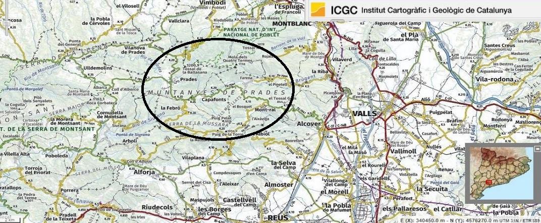 Mapa de localització de Prades