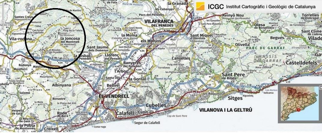 Mapa de localització de la Serra del Montmell