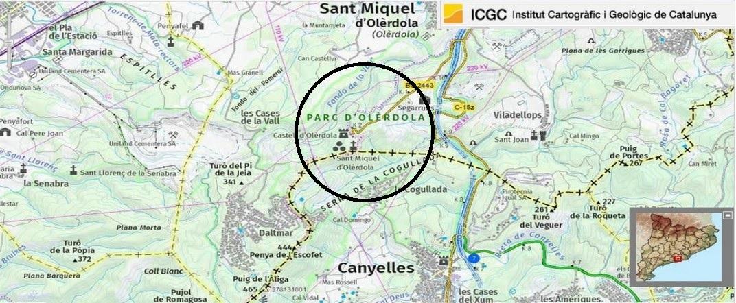 Mapa de localització del Parc d'Olèrdola