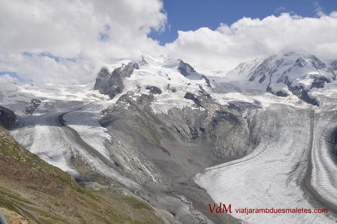 Glacera Gorner i Muntanya Rosa des del mirador de Gornergrat