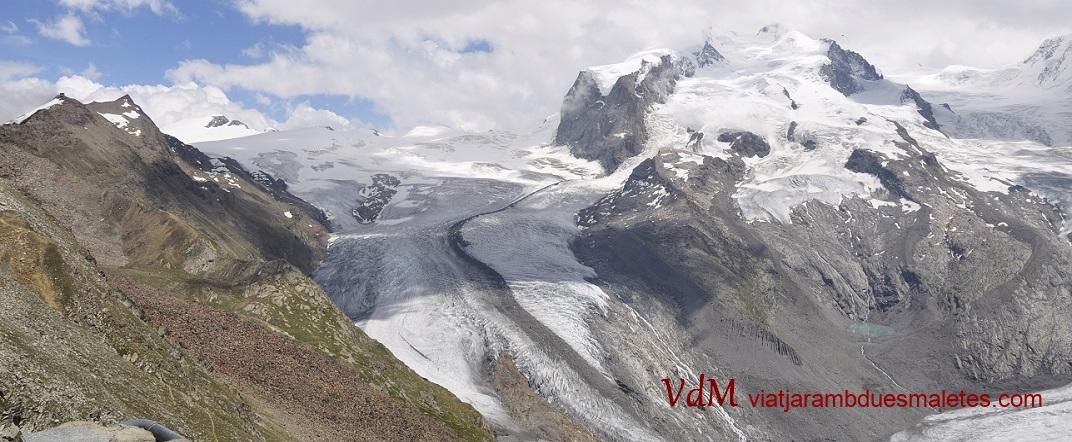 Gornergletscher i Muntanya Rosa o Dufourspitze des del mirador de Gornergrat