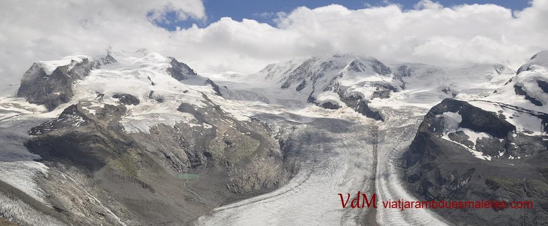 Grenzgletscher i Liskamm des del mirador de Gornergrat