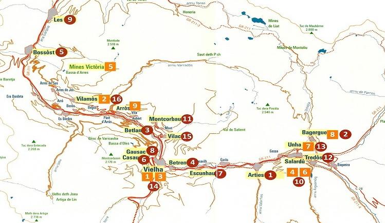 Mapa de les esglésies romàniques de la Val d'Aran