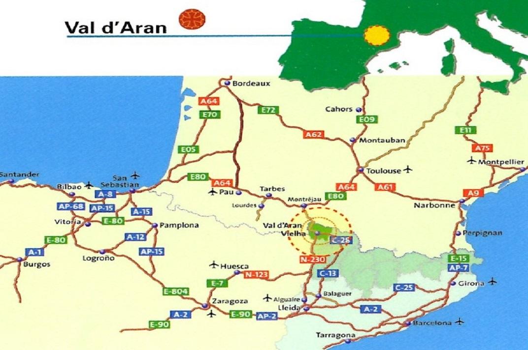 Mapa d'ubicació de la Val d'Aran