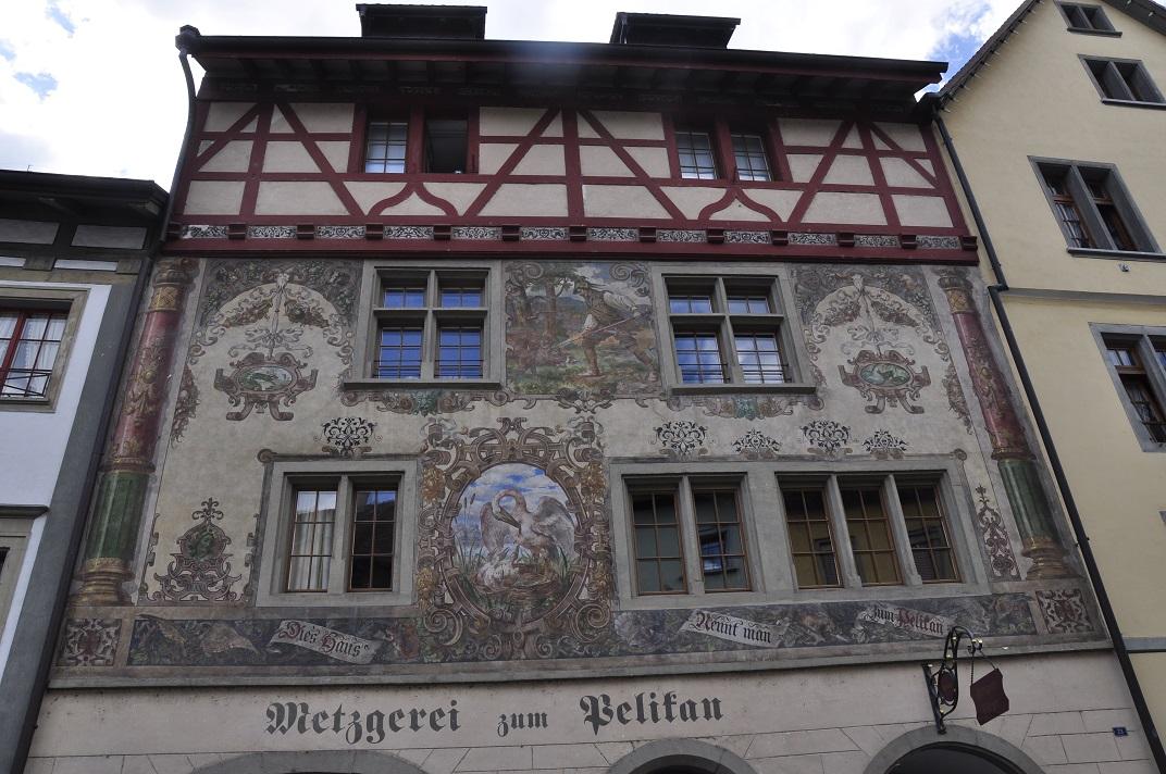Metzgerei zum Pelikan - la casa del pelicà de Stein-am-Rhein