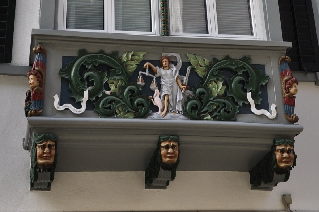 Mirador policromat de les cases històriques de Sankt Gallen