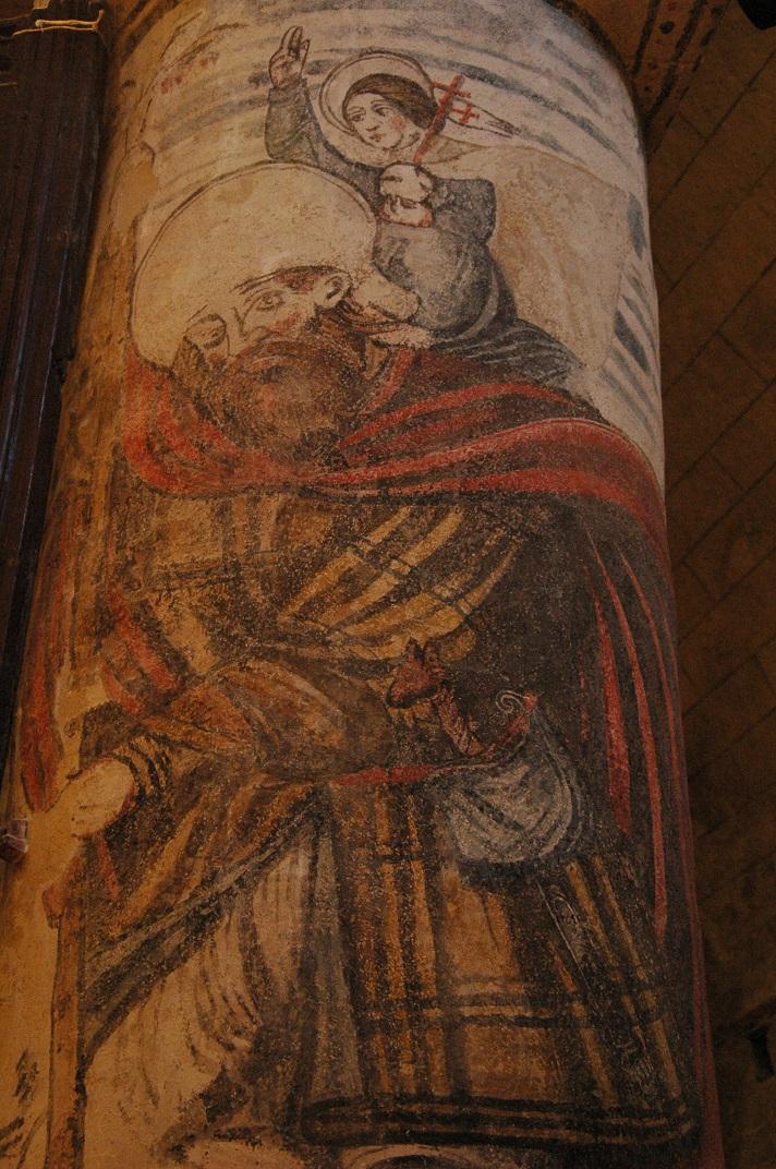 Pintures murals de les columnes de l'església de Santa Maria d'Arties