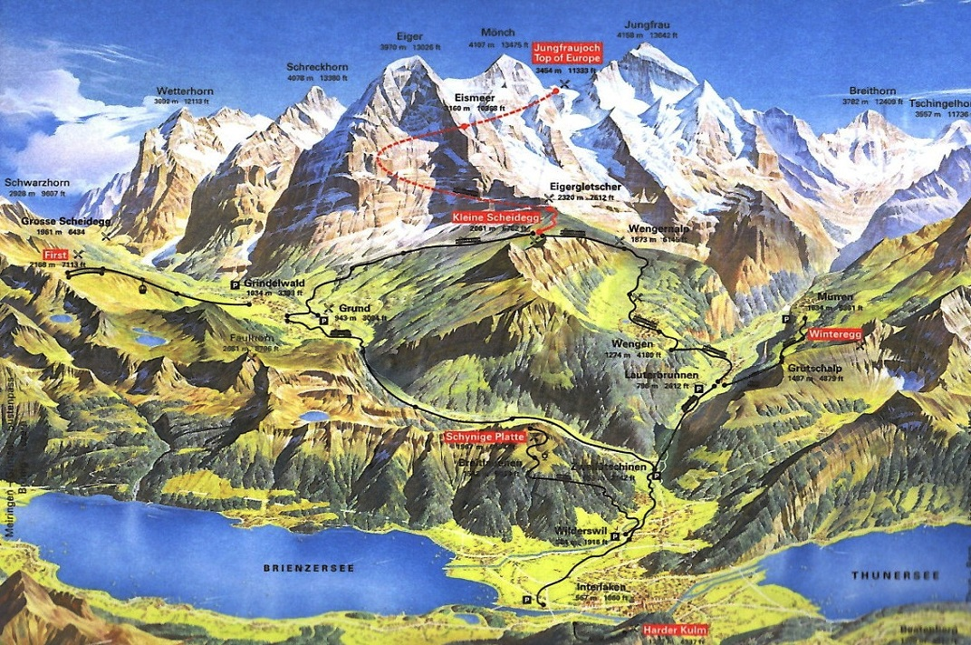 Plànol de la zona de Jungfraujoch