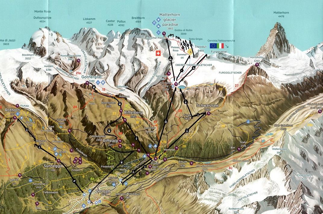 Plànol de la zona de Zermatt