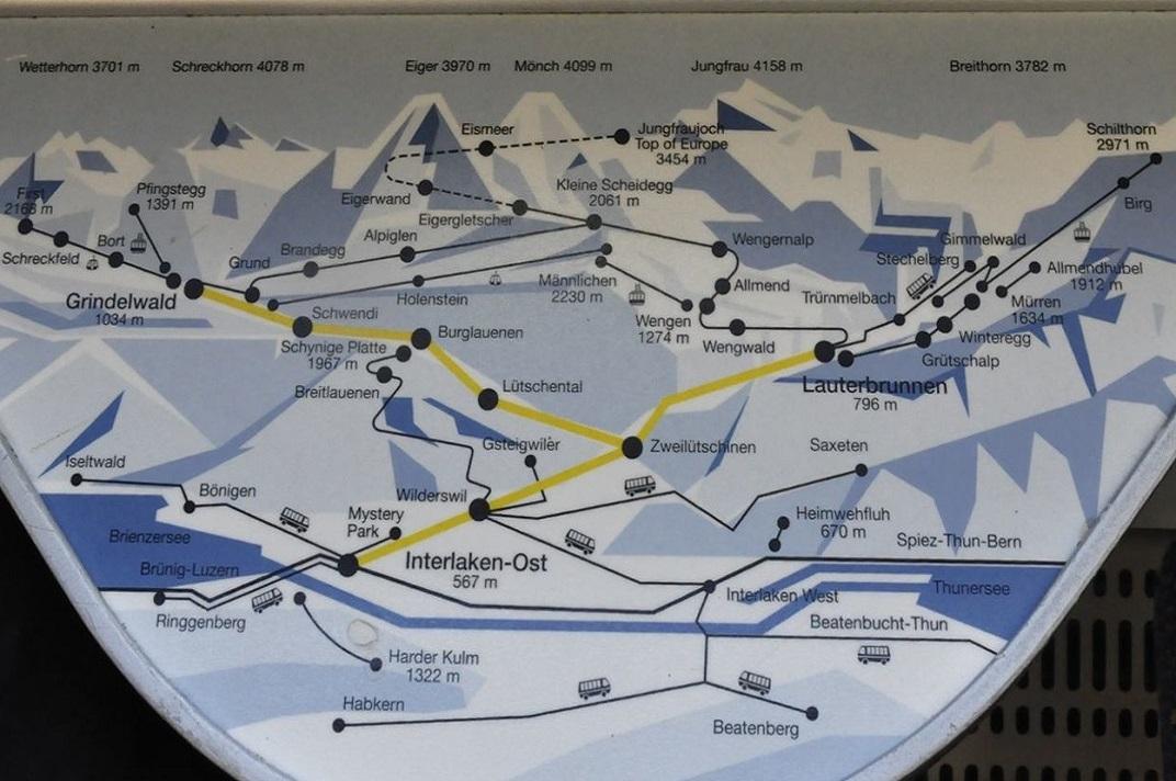 Plànol del ferrocarril de Jungfraujoch