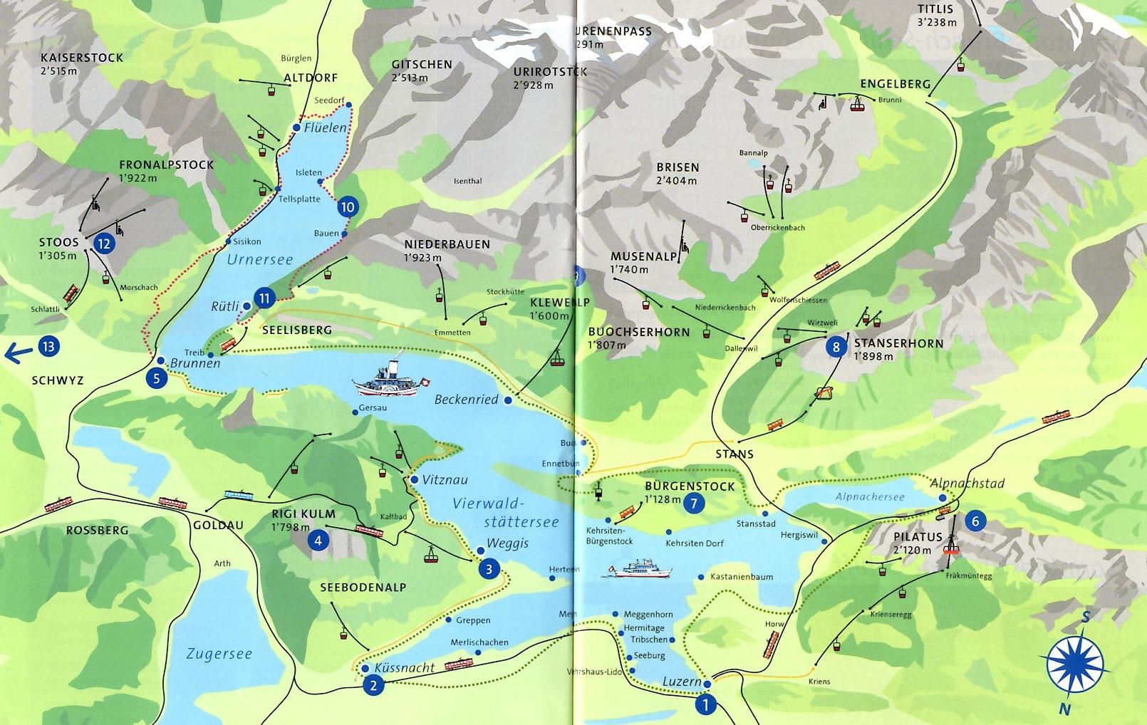 Plànol del llac del Quatre Cantons - Rigi