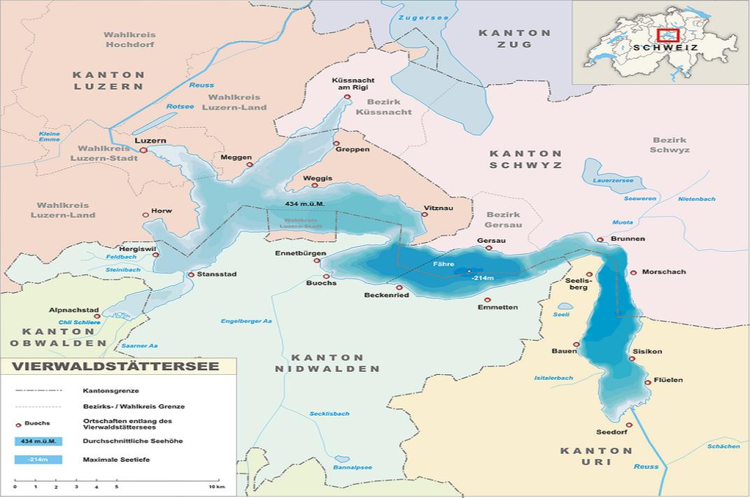 Plànol del llac del Quatre Cantons