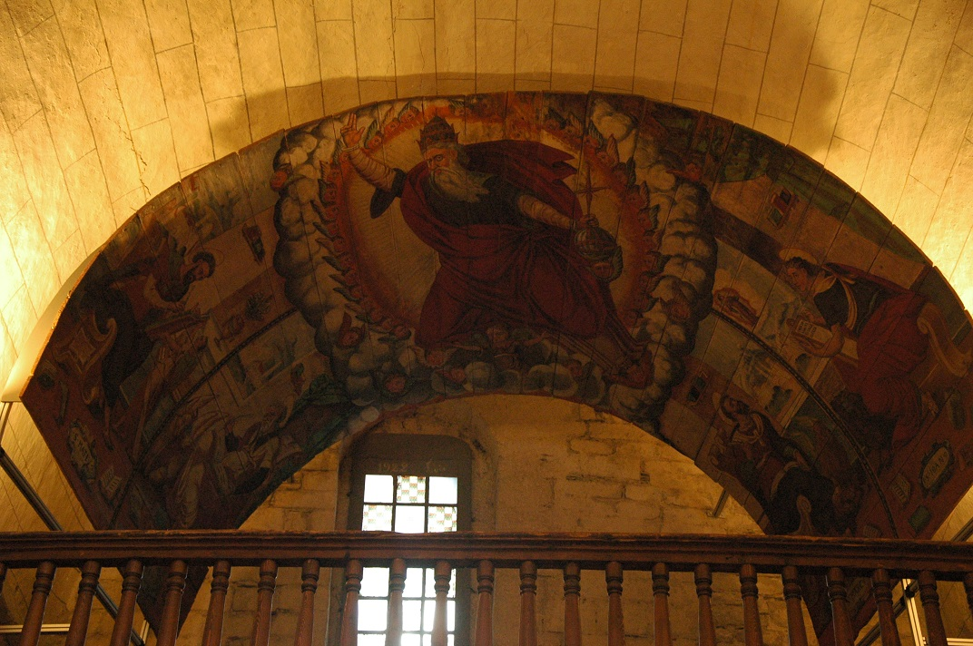 Representació de Déu a les altures de l'església de Santa Maria d'Arties