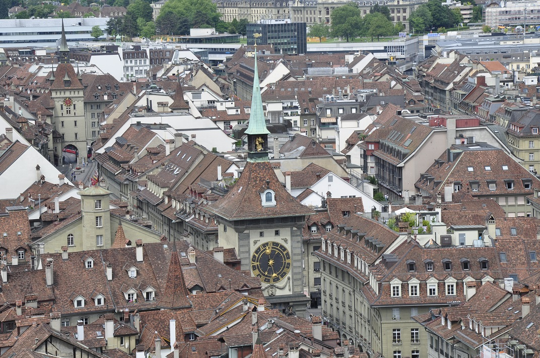 Vista de la torre del Rellotge des de la Catedral de Berna