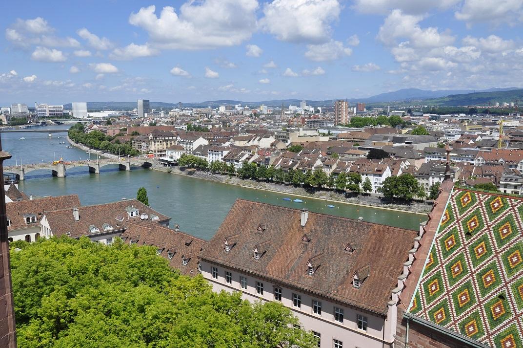 Vista del pont del Mig des de la Catedral de Basilea